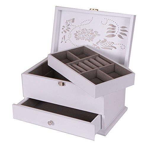 Blanco-Joyero-de-madera-cajn-Joyero-y-pantalla-para-organizador-de-joyas-de-collar-y-pendientes-pulseras-joyas-storagefloral-022-W