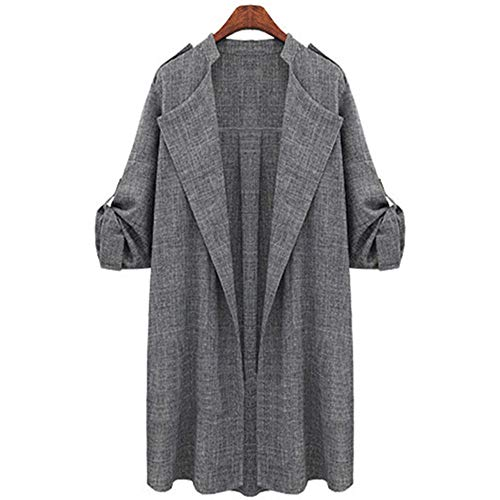 DOTBUY Damen Mantel Trenchcoat, Frauen Herbst Winter Mantel Elegant Langarm Jacken Vintage Mischfarb (2XL, Grau) (Frauen Mäntel Winter Calvin Klein)