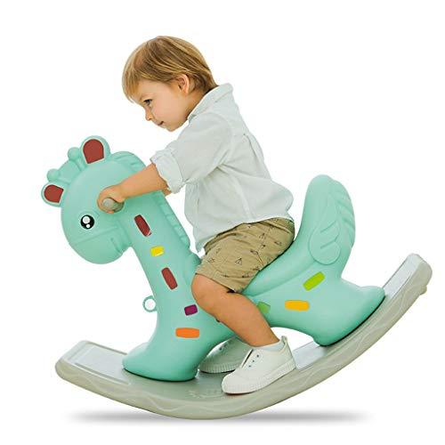 Unbekannt FRF Trojaner- Kinder Dicke große Plastikschaukel wiegen, Baby-Schaukelpferd Kinder Spielzeug (Color : Green, Size : 88x39x56cm)