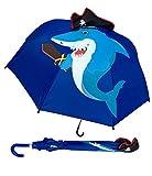 Kinder Regenschirm Shark | Hai mit Piratenmütze, Schwert und scharfen Zähnen + Schatzinsel & Piratenschiff | Kinder Regenschirm oder Sonnenschirm für Jungen und Mädchen | Regenschirme für Schulkinder Kindergartenkinder | Wasserdicht und Winddicht | leichtes öffnen - keine Verletzungsgefahr | Schützt auch vor Sonne und Hitze | Länge: 59cm, Ø 73cm | Kids Umbrella | Premium Kinderregenschirme - HECKBO