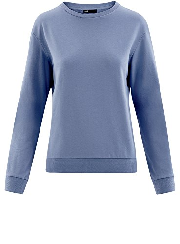 oodji Ultra Damen Baumwoll-Sweatshirt Basic Blau (7500N)