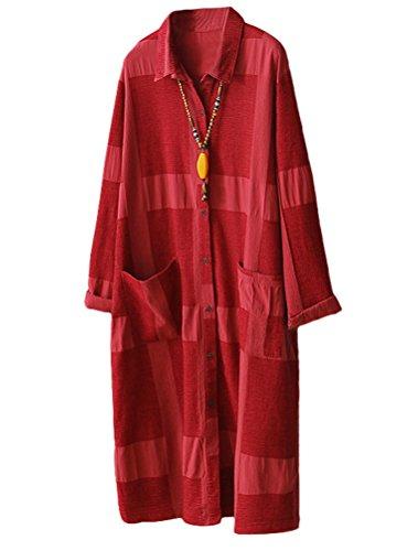 MatchLife Damen Langarm Tunika Casual Loose Shirt Kleid Rotwein