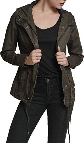 Urban Classics TB1820 Damen und Mädchen Basic Cotton Parka, Jacke aus Baumwolle für Herbst und Winter mit Kapuze, Taille verstellbar, Tunnelzug-Saum - olive, Größe M -