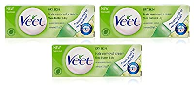 3x Veet Hair Removal Cream Dry Skin for Under Arms, Legs & Bikini 25g UK Seller