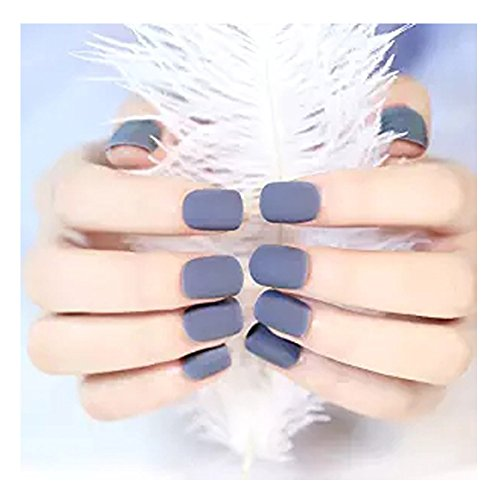YUNAI Faux Ongles - Gris mat Faux ongles courts Taille de conception complète ongles Conseils Faux Ongles Art Conseils
