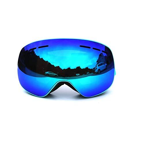 Epinki Erwachsene TPU+PC Snowboardbrille Skibrille Zweilagige Anti-Fog PC Objektiv Snowboard Brille (Cocker Myopie Brille) für Skifahren Schneemobil Skaten, Blau