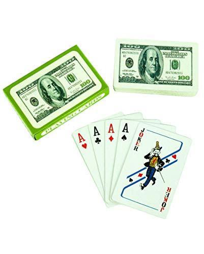 Horror-Shop Spielkarten 100 Dollar Motiv für Spieleabende