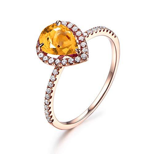 Anyeda Ringe Sterling Silber 925 Teardrop Zirkonia Ring aus Gelbgold Mit Ring Hochzeitszubehör für...