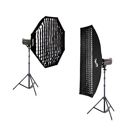 PHOTAREX Pro TS-300 Studioblitz 2 x 300Ws + Striplight 30x180cm + Oktagon Ø 95cm - Studioset (Pro Monolights)