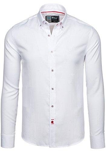 BOLF Herren Langarm Herrenhemd Figurbetont Freizeit Slim 5803 Weiß