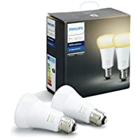 Philips Hue White Ambiance - Pack de 2 bombillas LED E27, 9.5 W, iluminación inteligente, tonos de luz blanca cálida y fría regulable (compatible con Amazon Alexa, Apple HomeKit y Google Assistant)