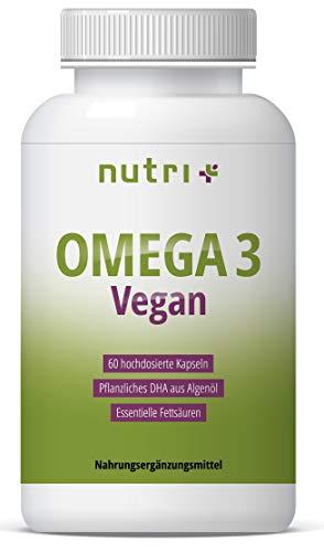 OMEGA-3 VEGAN - Essentielle O3-Fettsäuren aus Algenöl - vegane Kapseln - hochdosiertes veganes DHA Öl 800mg - pflanzlich & vegetarisch - ohne Fischöl, Rind & Gelantine - Omega 3 Dha Kapseln
