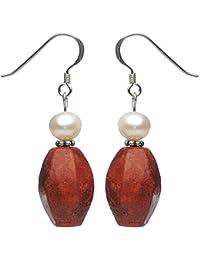 Ohrringe Ohrhänger aus Schaumkoralle & Süßwasserperlen, 925 Silber rot-weiß