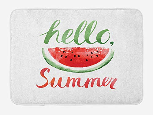 MSGDF Summer Bath Mat, Watermelon Calligraphy Fruit Seeds Freshness Healthy Natural Food, Plush Bathroom Decor Mat with Non Slip Backing, 23.6 W X 15.7 W Inches, Dark Coral Jade Green White