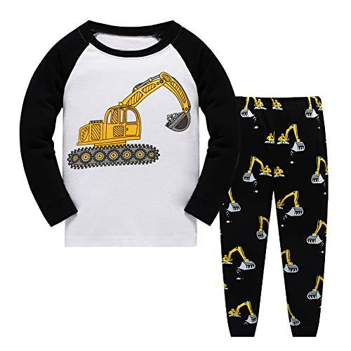Tkiames Jungen Pyjama für Jungen, LKW, Dinosaurier, Kinder-Pjs mit Langen Ärmeln Gr. 4-5 Jahre, weiß -