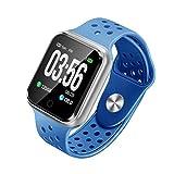 YUHT Smartwatch con Pulsometro,Pulsera Actividad Inteligente para Deporte, Reloj Iinteligente Hombre Mujer niños, Reloj de Fitness con Podómetro Cronómetros, Blue