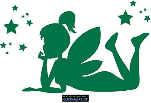 CLICKANDPRINT  Aufkleber » Fee/Tinkerbell liegend, 160x99,0cm, Grün Reflektierend • Dekoaufkleber/Autoaufkleber/Sticker/Decal/Vinyl