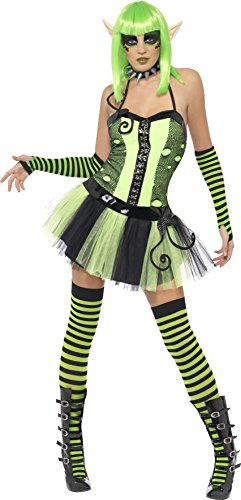 Kostüm Wilde Elfen - Smiffys, Damen Tainted Garden Wilde Elfe Kostüm, Tutu-Kleid mit angesetztem Gürtel, Größe: S, 22202