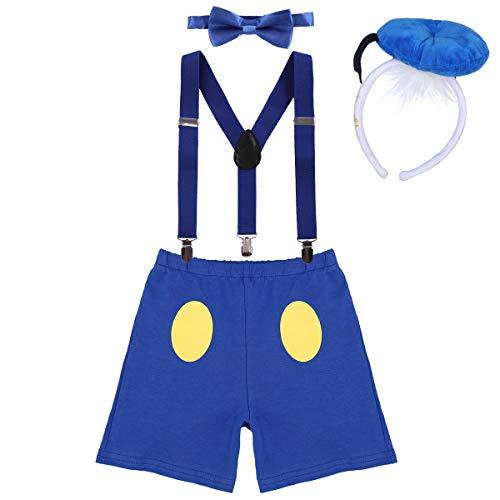 IWEMEK Baby 1. / 2./ 3. Geburtstag Kostüm Jungen Mädchen Donald Duck Karneval Cospaly Outfit Hosenträger Hosen mit Fliege Stirnband 3pcs / 4pcs Bekleidungssets Fotoshooting Cartoon 05 2-3 Jahre