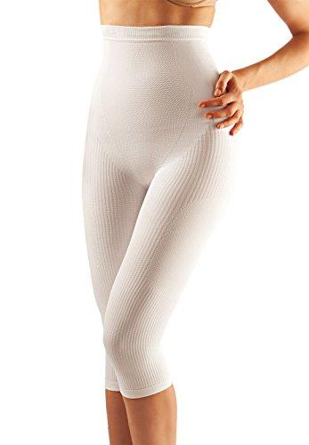FarmaCell 323 (Weiss, L/XL) Massierende figurformende lange Hose mit Pushup und anti Cellulite Effekt
