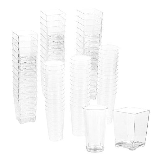 f Shot Glas und Quadrat Dessert Cup Einweg Wand Shooter, Hochzeiten und mehr (Kunststoff-zylinder Klar)