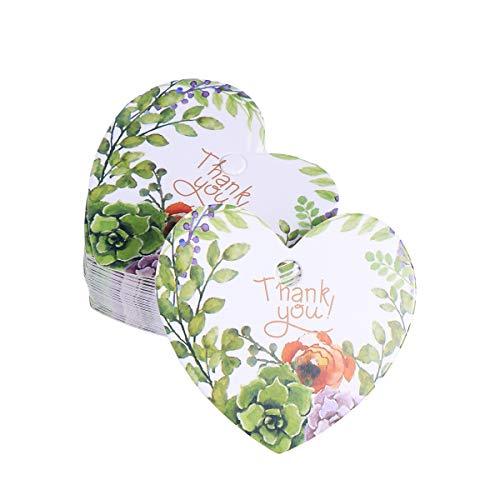 BESTOYARD 50PCS Confezione Regalo a Forma di Cuore Floreale Tag Carta Appeso Etichette Cottura Cibo Pacchetto Etichette Wedding Favor Tag (Thank You)