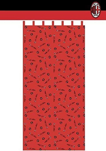 Original A.C.Mailand Milano St.XXL Ready - 1 Tab-Top Curtain, L 280 CM x 140 CM Cotton Red New for 2013