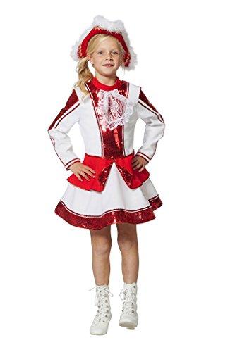 Tanzmariechen Kleid Garde für Kinder rot/weiß mit Pailletten -