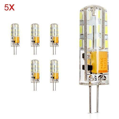 ELINKUME 5X G4 Ampoules LED 2W Spot Lampe LED Bulb 24 SMD3014 LEDs Blanc Froid 150lm Super Lumineux Lumiere Bulb ,20W Ampoule Halogène Équivalent ,Lampe Bulb AC/DC 12V