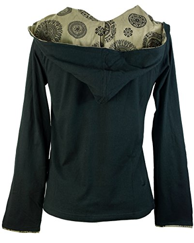 Guru-Shop Hoody Mandala, Damen, Baumwolle, Pullover, Longsleeves & Sweatshirts Alternative Bekleidung Schwarz
