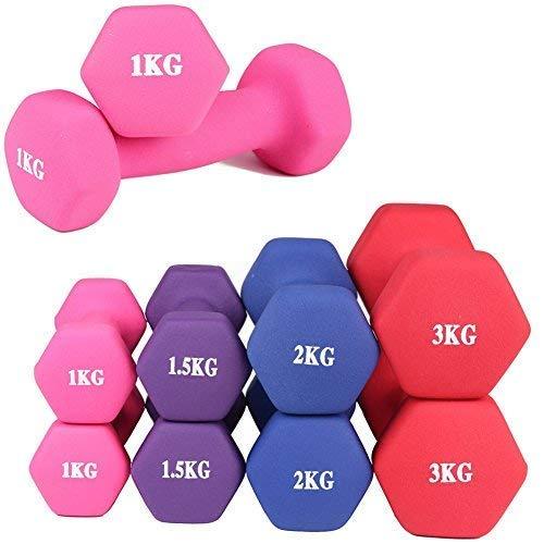 Goutime Manubri in Neoprene per Fitness Yoga Esercizi,Manubri con Antiscivolo E Morbido per Riabilitazione E La Formazione in Casa(Set di Due) (Rosa, 1KG)