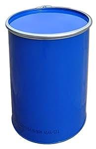 Tonneau, baril, fût métallique bleu avec couvercle 213 L (23026)