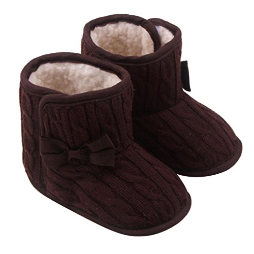 FEITONG Baby Bowknot weiche Sohle Multicolor Winter warme Schuhe Stiefel (3-6 Monate, Grau) Kaffee