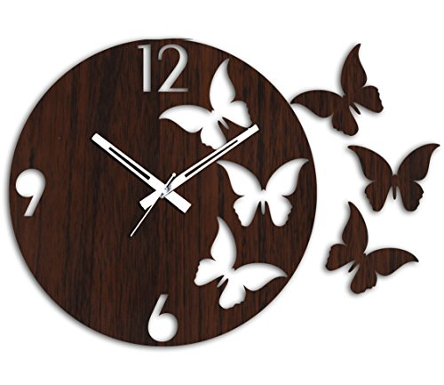 Studio Shubham Decorative Butterfly Wooden Round Wall Clock(26.5X26.5X3Cm)