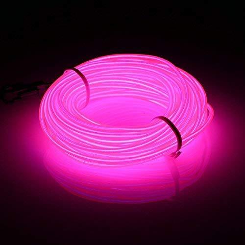 5 M, Rosa EL Kabel Neon mit Batterie Box Weihnachtsfeier Glühen Lichter Party Partys Bar Halloween Kostüm ()