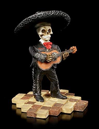 Figuren Shop GmbH Skelett Gothic-Figur - Mariachi Band Gitarre   Fantasy-Dekofigur, handbemalt, H 12 cm