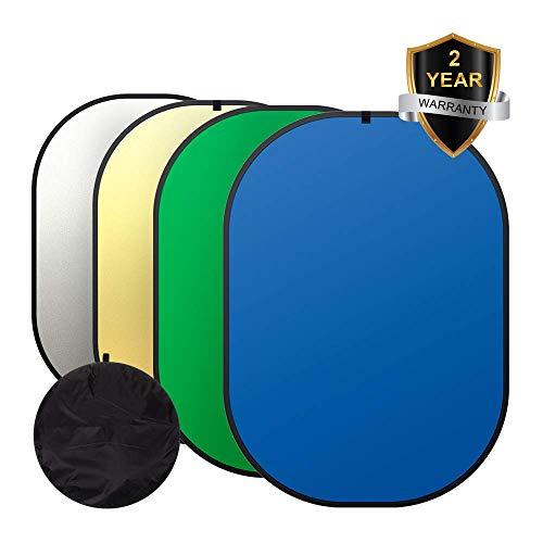 Heorryn 4-in-1 Fotohintergrund,1,5*2cm faltbar wendbar Chromakey Blau Grün Screen mit Tragetasche, 100% Baumwolle, Musselin -