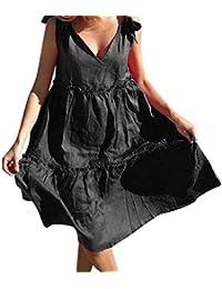 441fddff0578 Upxiang Donna Vestito Lungo Elegante Abito Cerimonia Senza Maniche Donna  Dress