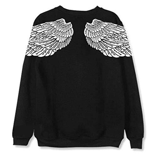 6a27501aa9 Sweatshirt Damen Langarm Rundhals Flügel Aufdruck Jumper Herbst Winter  Fashion Elegante Jungen Chic Loose Beiläufiges Mädchen Pullover Oberteile  Shirts