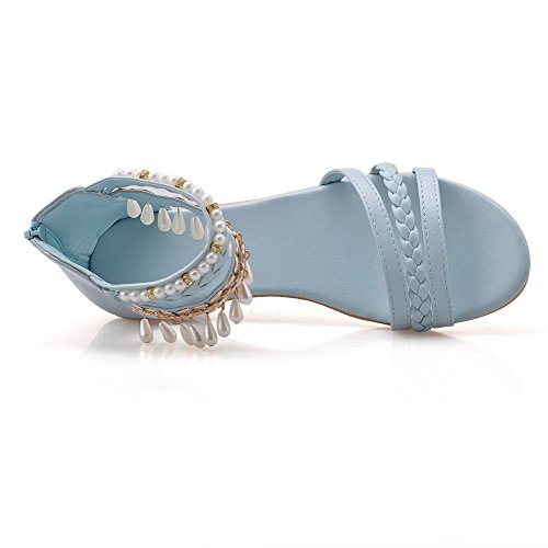 AalarDom femme à Talon Bas Matière Souples Couleur Unie Zip Ouverture D'Orteil Sandales Bleu(zhu)