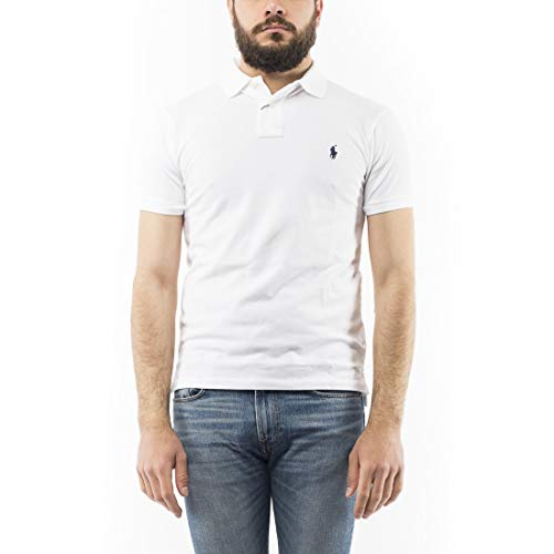 Polo Ralph Lauren Herren SS KC Slim FIT White Poloshirt, Weiß A1000, Medium