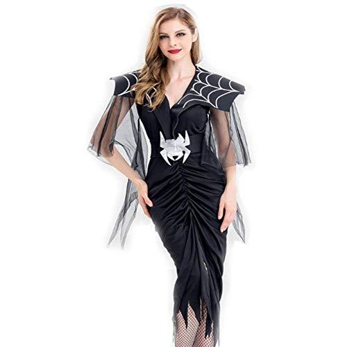 Gothic Weiblich Teufel Kostüm - DUQA Halloween Gothic Wind Spider Langer Rock Ghost Festival Cosplay Kost¨¹m Vampire Cosplay Kost¨¹m Halloween Kost¨¹m