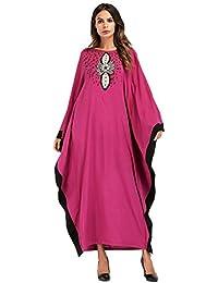 MEYINI Farasha Kaftan Vesti Le Donne - Vestito Arabo Islamico Jilbab Manica  Lunga Oversize Girocollo Abiti 55a0590cd45