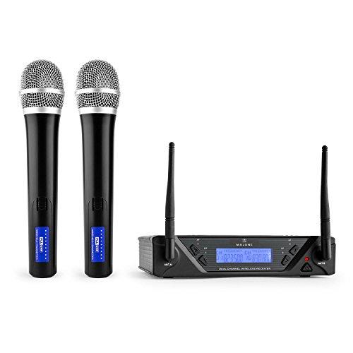 Malone UHF-450 Duo 1 • 2-Kanal UHF-Funkmikrofon Set • Funk-Mikrofon System • 2 x kabellos Handmikrofon • Frequenzband: 823-832 MHz pro Kanal • LED • lange Betriebszeiten • LCD-Display • schwarz