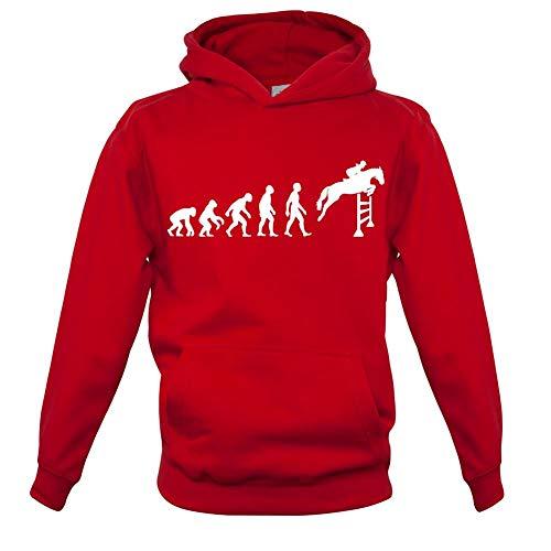 Sieben Für Alle Menschheit Größen (Dressdown Kinder Hoodie/Kapuzenpullover - Evolution of Man - Springreiten - 7 Farben - 3 bis 14 Jahre - Rot - XXL (12-13 Jahre))