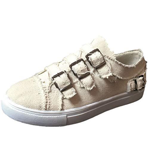 Dorical Unisex Damen Herren Canvas Sneaker Low Übergrößen mit Metallschnalle,Slip-on Roundtip Flache Vintage Schuhe aus Gummi Größe 35-43 Reduziert(Beige,41 EU)