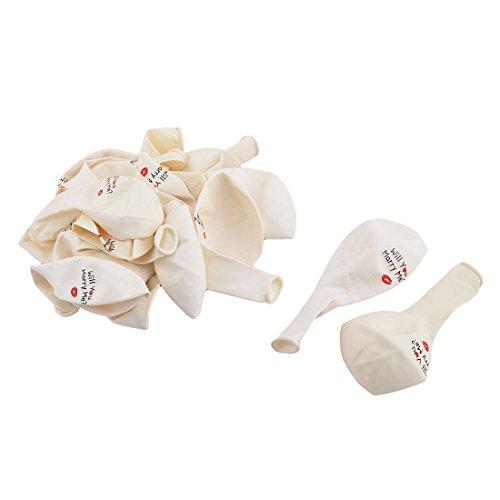 sourcingmap® 20 Stück 11,8 Zoll Weiß Latex Brief Lippe Druck Inflation Ballon Hochzeit - Ballon Brief X
