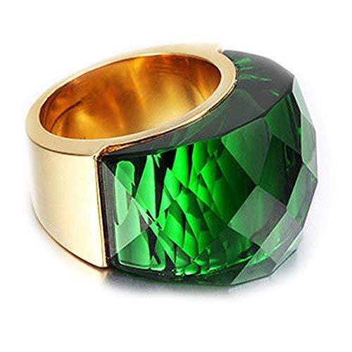 NELSON KENT Damen Edelstahl Halbe Pack Transparente Glas Ring Gold Grün Größe57(18.1)