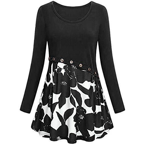 IZHH Damen Shirtdress, Mode Frauen Floarl Druck Oansatz Knopf Langarm Tunika Bluse Shirts Bluse Stitching Tops(Schwarz,2XL)