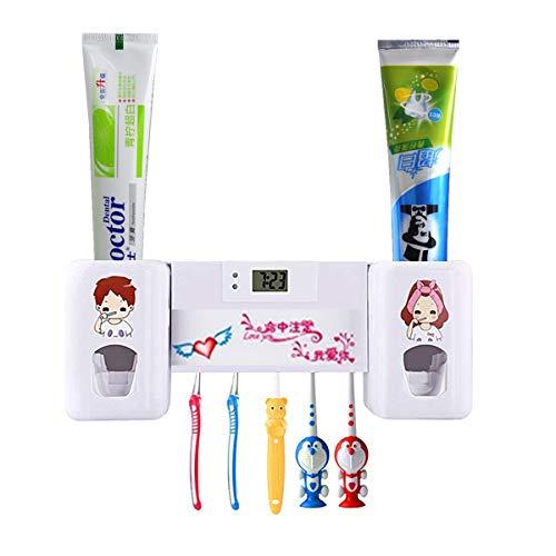 Yooap Dispensador automático de Pasta de Dientes Soportes para cepillos de Dientes, Exprimidor de Pasta de Dientes Doble Manos Libres con Reloj electrónico, Perfectamente Apto para niños y Adultos